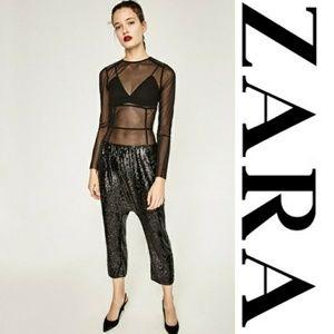 NWT Zara Sequin Harem Pants